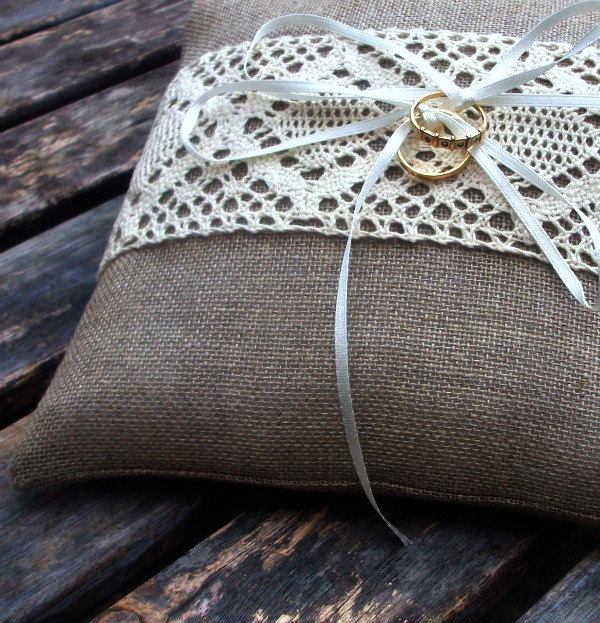 Linen Ring Bearer Pillow in Natural with Cream Cotton Lace