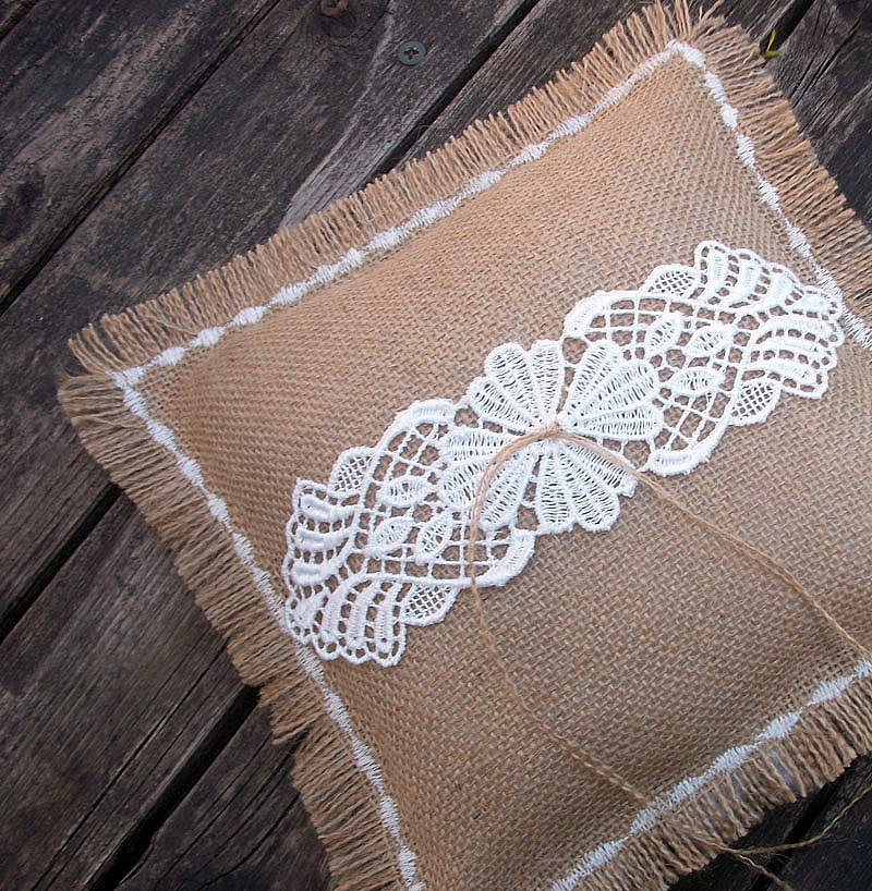 Wedding Ring Bearer Pillow in Natural Burlap with Appliqued Venice Lace in Ivory and Machine Embroidered Shabby Fringed Edges