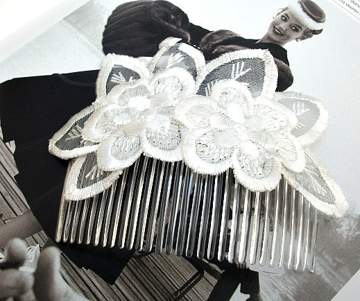 Bridal Head Piece/Comb in Embroidered Organza in Ivory