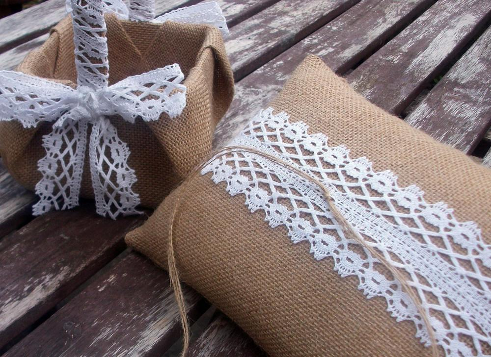 Ring Bearer Pillow/Cushion and Flower Girl Basket Set in Burlap and Vintage White Lace Trim-Woodland Wedding