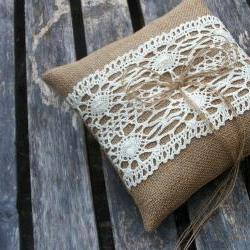 Wedding Bearer Pillow/Cushion in Burlap/Hessian in Natural with Cream Cotton Lace